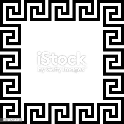 istock Rectangle frame with seamless meander pattern. Meandros, a decorative border, constructed from continuous lines, shaped into a repeated motif. Greek fret or Greek key. Illustration over white. Vector illustration 1313237981