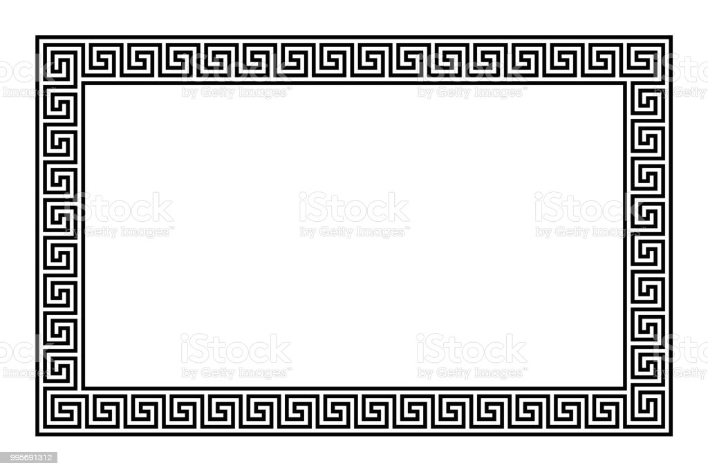 Rectangle frame with seamless meander pattern vector art illustration