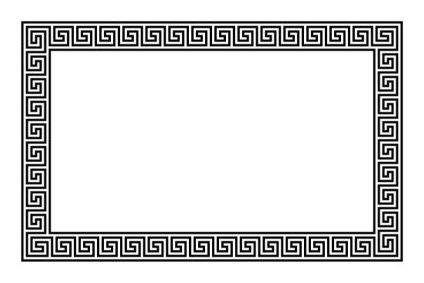 원활한 meander 패턴으로 사각형 프레임 - 고대의 stock illustrations