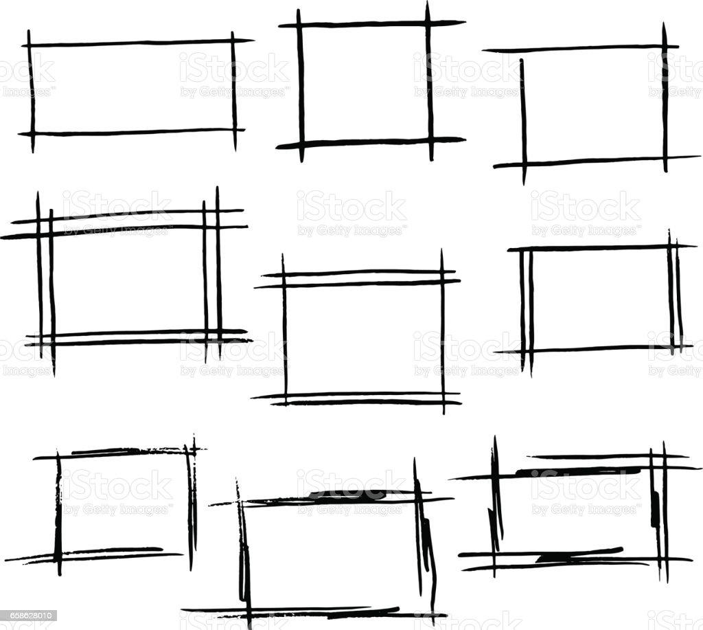 Rektangel ramar uppsättning handritad borde vektorkonstillustration