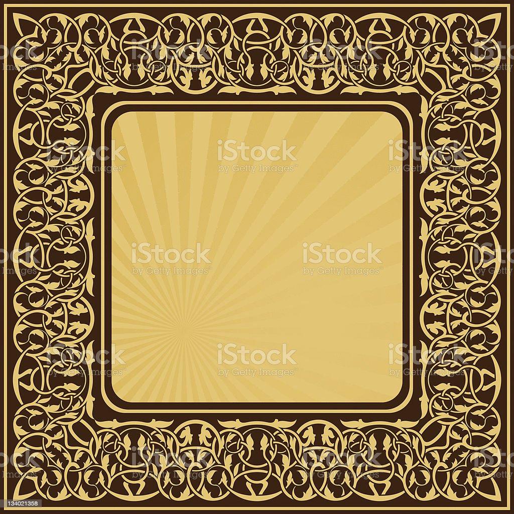 Rectangle gold frame royalty-free stock vector art