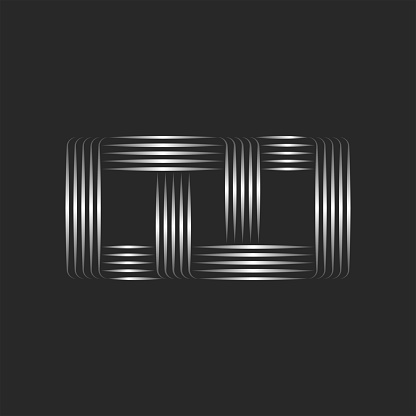 Rectangle logo, many parallel metal lines and intersecting patterns of stripes, linear creative symbol.
