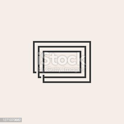 rectangle rectangular line outline hipster vintage vector icon illustration