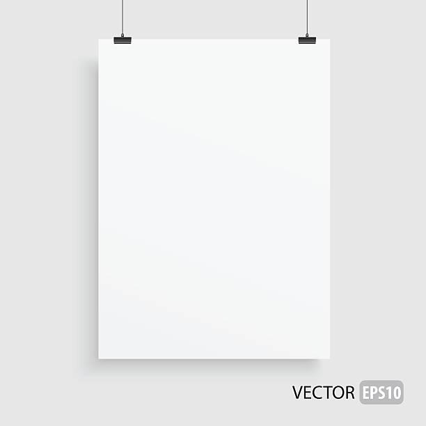 Rectangle white frame haning on two lines. vector art illustration