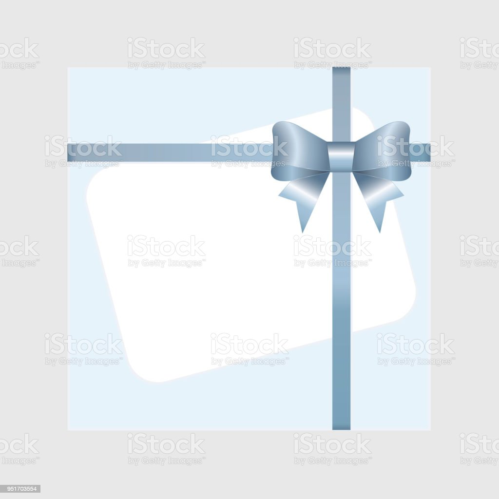 bf585c9bfc718c Rechteck weiß Papierkarte mit blauen Band und gebundene Schleife am  Hintergrund. Lizenzfreies rechteck weiß papierkarte