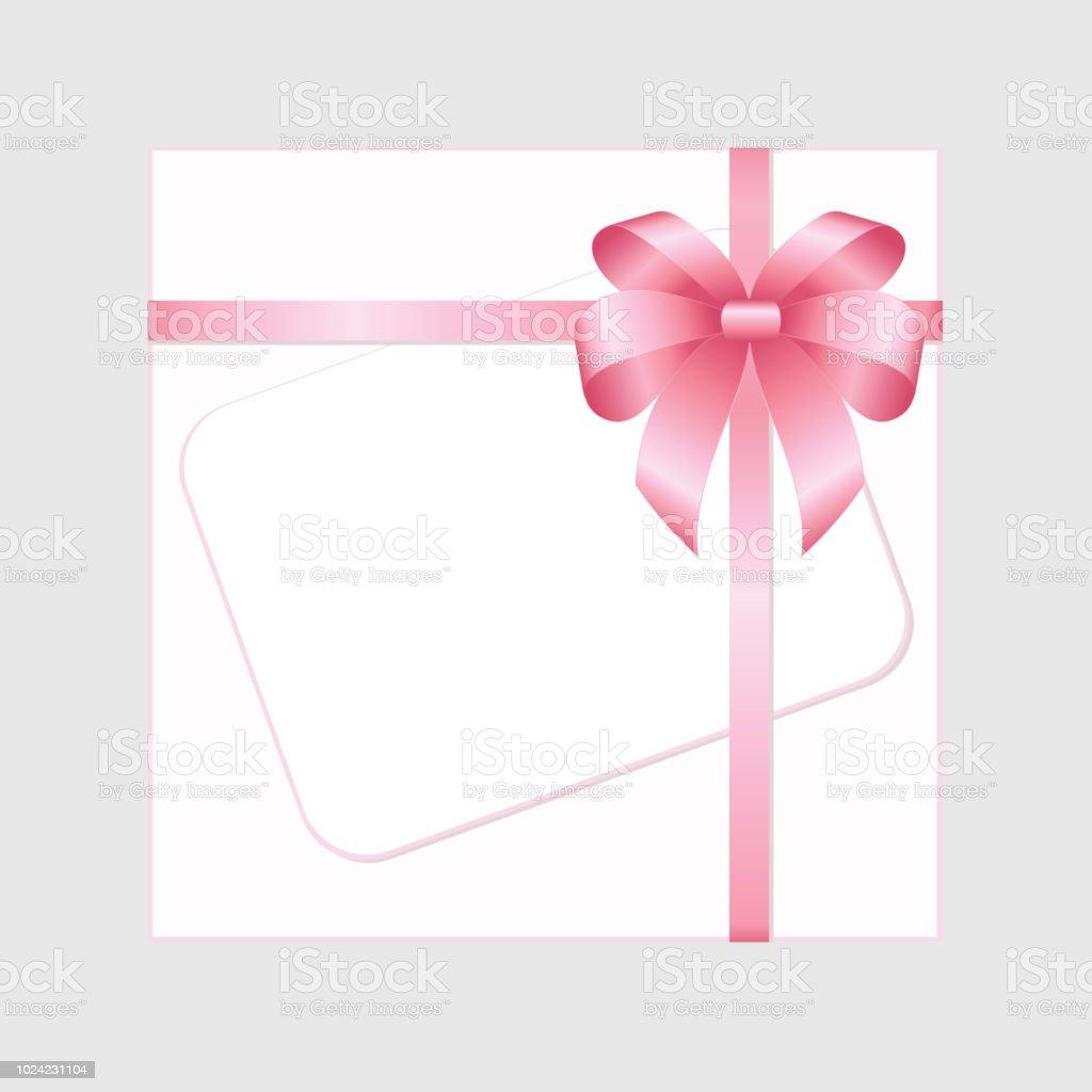 8ac3654e64c368 Rechteck weiß Papier-Karte mit Rosa Schleife und gebundene Schleife auf  rosa Hintergrund. Vektor