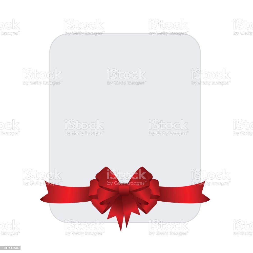 a38ee92b4ecefe Rechteck weiß Papierkarte mit rotem Band und gebundene Schleife am  Hintergrund. Vektor-Bild.