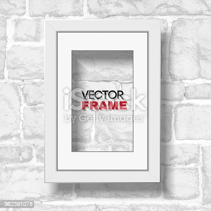 Rectangular A4 White Picture Frame With Passepartout Hanged On White