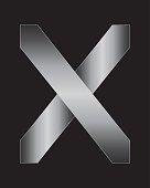 rectangular bent metal font, letter X