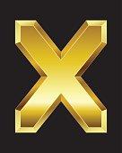 rectangular beveled golden font, letter X