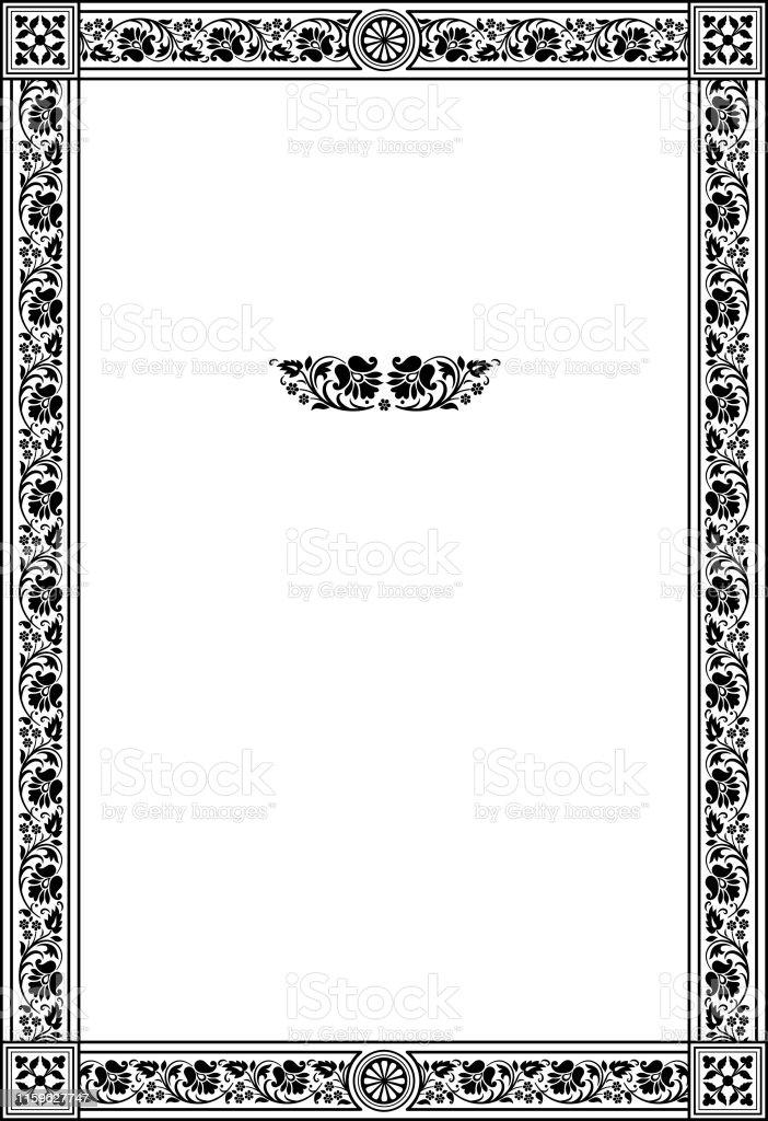 Dikdortgen Siyah Ve Beyaz Suslu Cerceve Dekoratif Unsurlar Retro