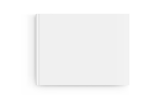 Rectangular book cover mockup isolated on white background - top view