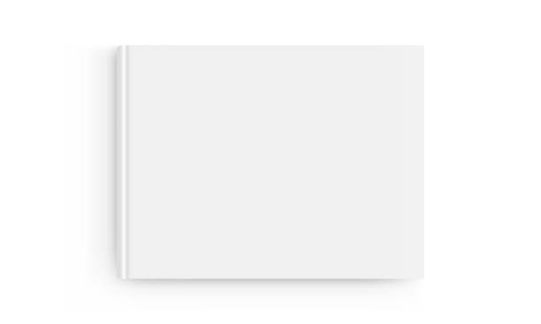 Rectangular book cover mockup isolated on white background - top view Rectangular book cover mockup isolated on white background - top view. Vector illustration hardcover book stock illustrations