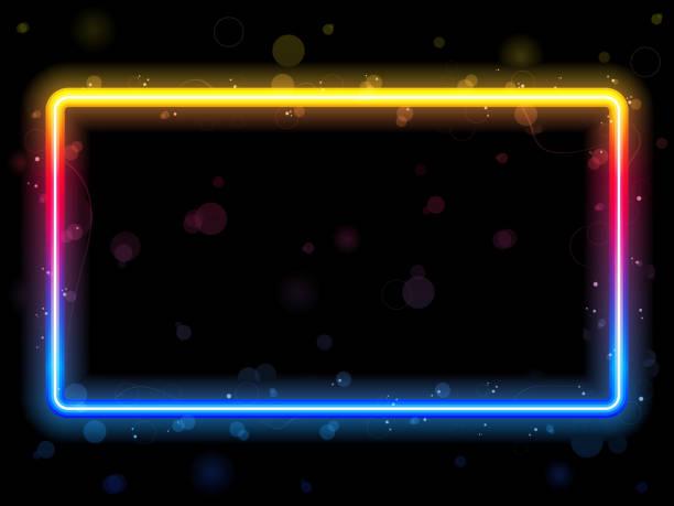 rectangular border with neon rainbow lights - rainbow glitter background stock illustrations, clip art, cartoons, & icons