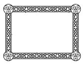 Vector Celtic frame with a knot pattern and swirls.