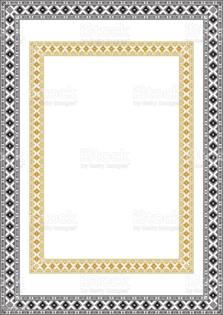 Rectangular Ethnic Geometric Frames Black And White Yellow Colors On