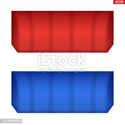 Set of rectangular fabric awnings. Solar shade screens and retractable awnings. Vector illustration isolated on background.