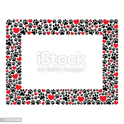 istock Rectangular frame of paw prints and hearts 1182533966
