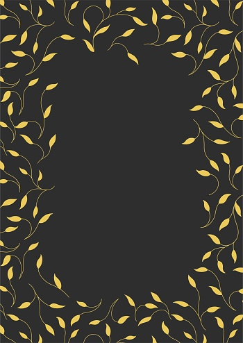 Rectangular frame on a black background. Golden branches. For the text. Art Deco style.