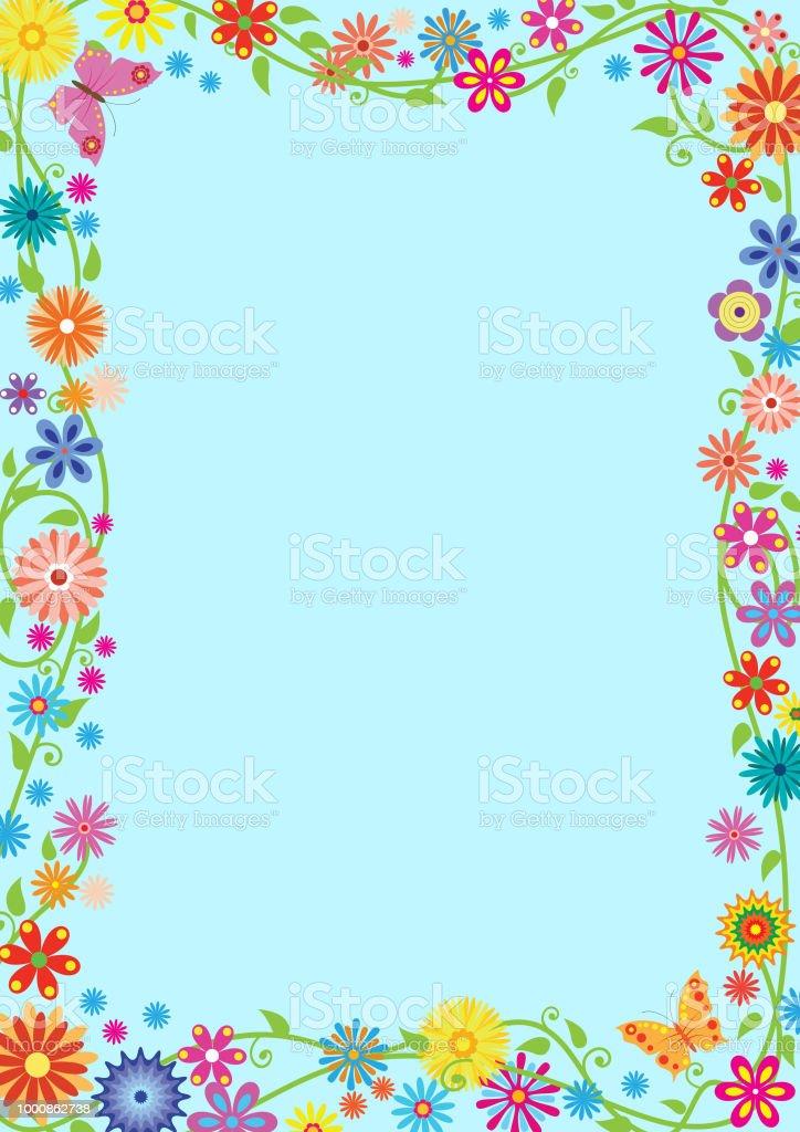 Rectangular Framework With Fancy Flowers And Butterflies Template For Preschool School Diploma Certificate