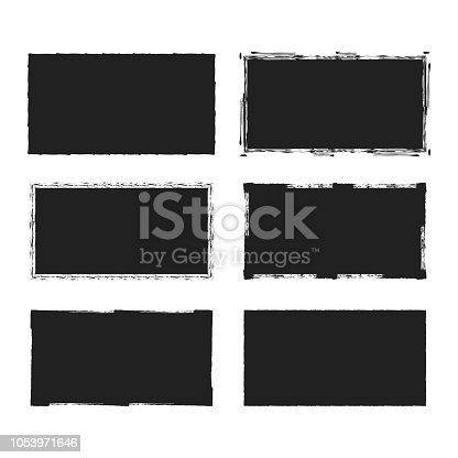 Rectangular grunge rough shape. Vector isolated background. Chalk edge box frame. Distressed badge.