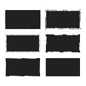 Rectangular grunge rough shape. Vector isolated background. Chalk edge box frame. Distressed badge.