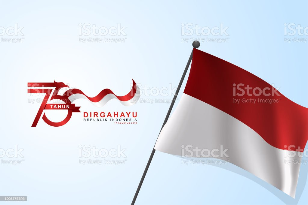 Rectangular Indonesian wavy flag background template. vector art illustration