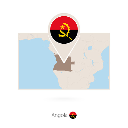 Rectangular map of Angola with pin icon of Angola