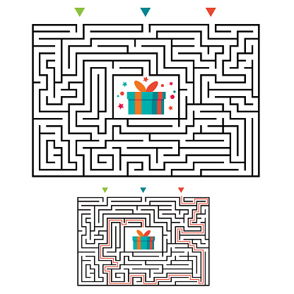 Rectangular maze labyrinth game for kids. Labyrinth logic conundrum. Three entrance and one right way to go. Vector flat illustration