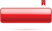 Rectangular red glossy button. Vector Illustration.