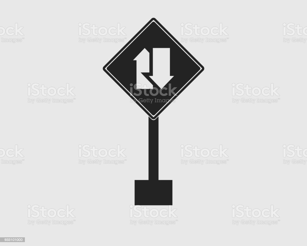 Rectangular Two Way Street Sign In Left Icon With Gray Background