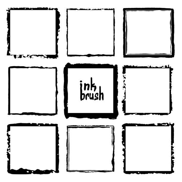 ilustraciones, imágenes clip art, dibujos animados e iconos de stock de marco rectangular de vector. ilustración de la tinta del grunge. fondos creativos para etiquetas, etiquetas, tarjetas. trazos dibujados a mano. - bordes de marcos de fotografías