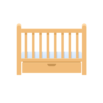 Rectangular wooden bed cradle, with pillow, mattress for infants