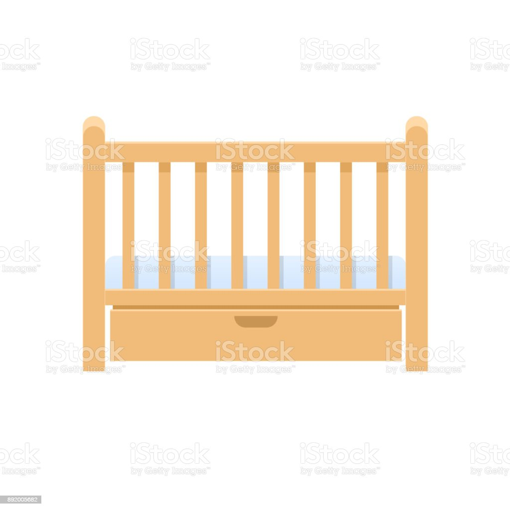 Rectangular wooden bed cradle, with pillow, mattress for infants vector art illustration