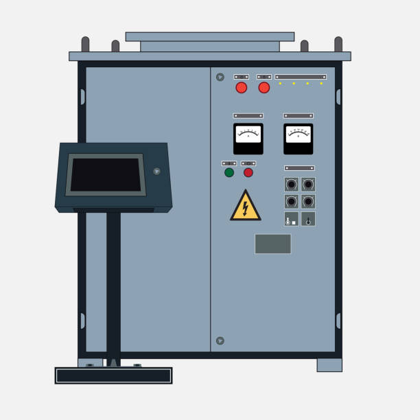 Rectifiers for Electrotechnology Technical object, rectifier for electrotechnology. Transformer to increase or decrease the voltage of the electric current and the control panel. transformer stock illustrations