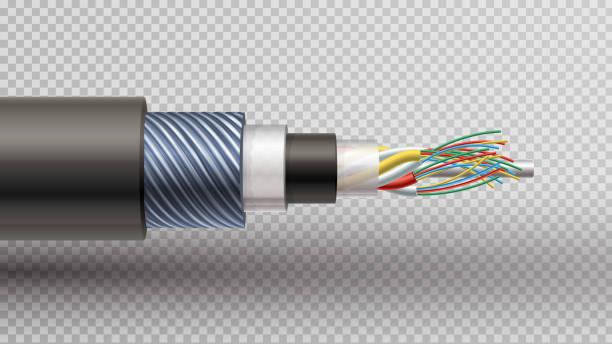 illustrations, cliparts, dessins animés et icônes de illustration réaliste de recteur de fibre optique serré mis en mémoire tamponnée - fibre