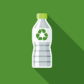 Recyclable Bottle Flat Design Environmental Icon
