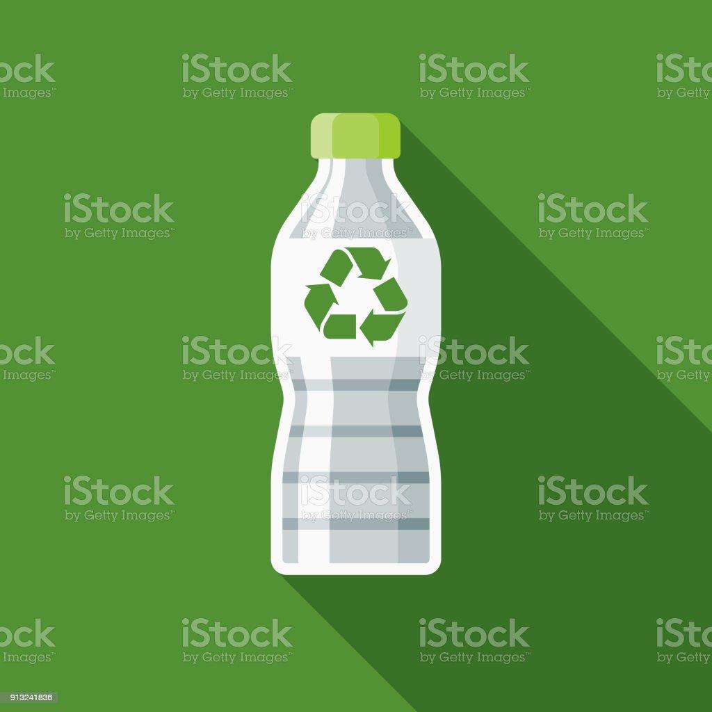 Botella reciclable icono ambiental de diseño plano - ilustración de arte vectorial