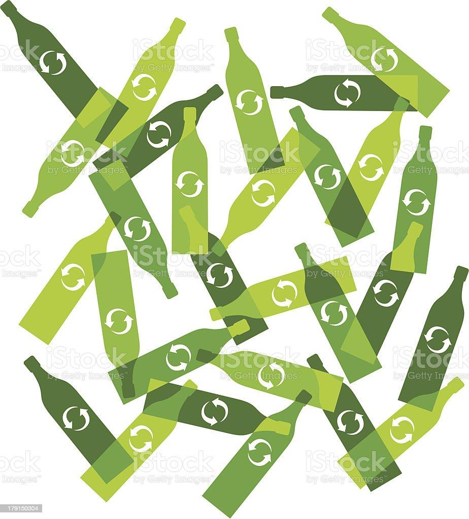 Recyclable glass bottles vector art illustration