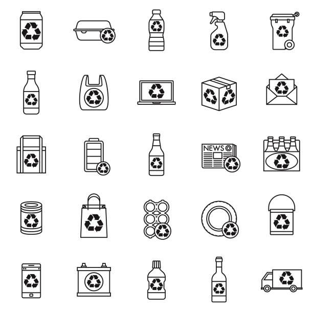 illustrations, cliparts, dessins animés et icônes de ensemble d'icônes recyclables - bouteille d'eau