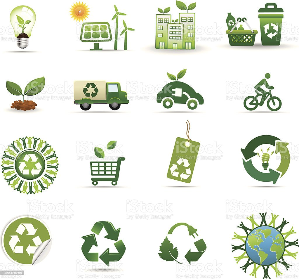 recycle and green energy icon set royalty-free recycle and green energy icon set stock vector art & more images of alternative energy