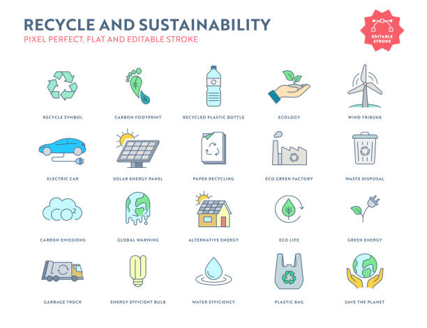recycle and sustainability flat icon set with editable stroke and pixel perfect. - sustainability icons stock illustrations