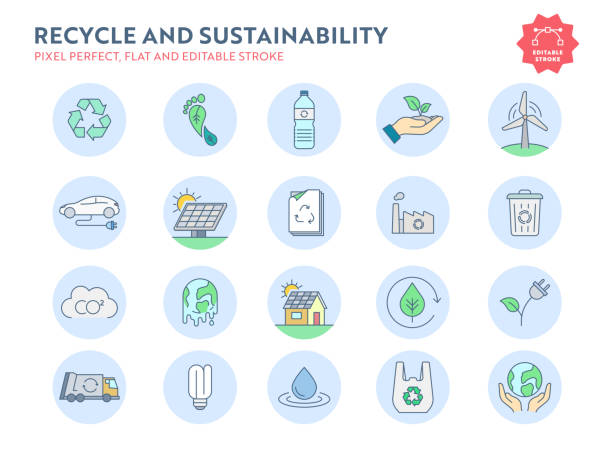 Recycle and Sustainability Flat Icon Set with Editable Stroke and Pixel Perfect. Recycle and Sustainability Flat Icon Set with Editable Stroke and Pixel Perfect. ethical consumerism stock illustrations