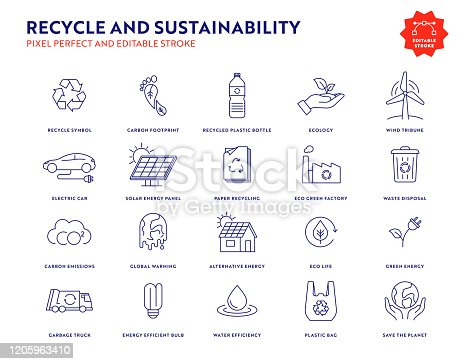 Recycle and Sustainability Line Icon Set with Editable Stroke and Pixel Perfect.