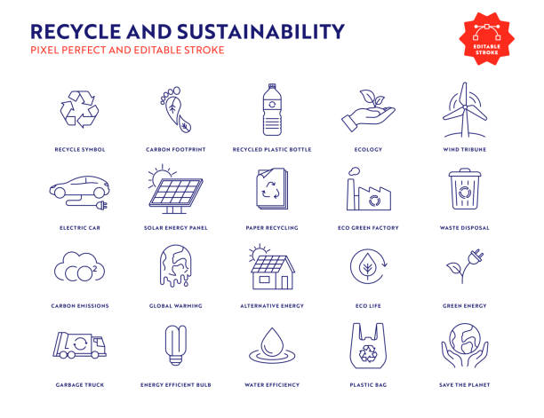 recycle and sustainability icon set with editable stroke and pixel perfect. - sustainability icons stock illustrations