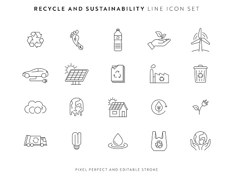 Recycle and Sustainability Icon Set with Editable Stroke and Pixel Perfect.