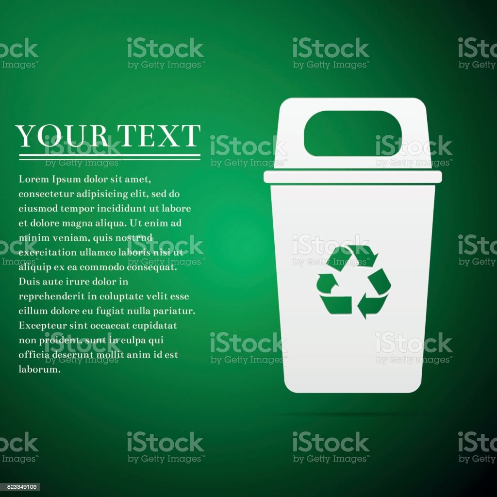 Recycle bin flat icon on green background. Vector Illustration vector art illustration