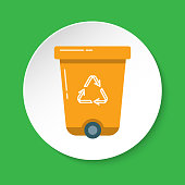 Recycle bin icon in flat style on round button. Trash can with recycling symbol arrows isolated on white.