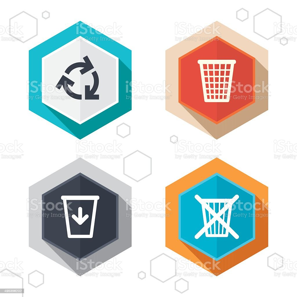 Recycle bin icons. Reuse or reduce symbol vector art illustration