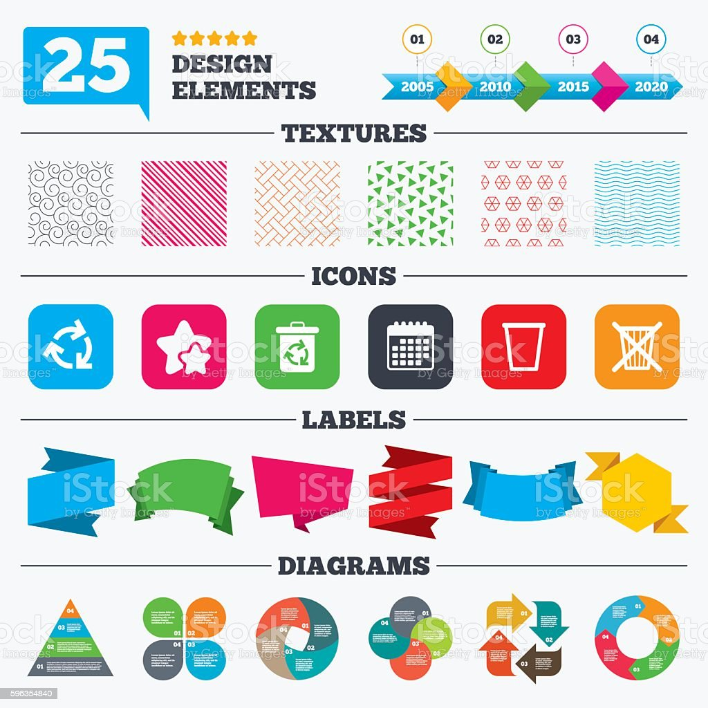 Recycle bin icons. Reuse or reduce symbol. royalty-free recycle bin icons reuse or reduce symbol stock vector art & more images of badge